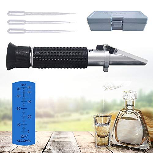 KETOTEK Alcohol Refractometer, ATC Alcohol Refractometer with 0-80% Alcohol Measurement Range for Liquor and Spirits. Whiskey, Brandy, Vodka, etc