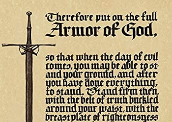 Armor of God Poster - Sword Bible Verses in Old English Calligraphy Metal Vintage Tin Sign for Bar Cafe Home Retro Wall Art Sign Decoration Metal Plaques 12x8 inches