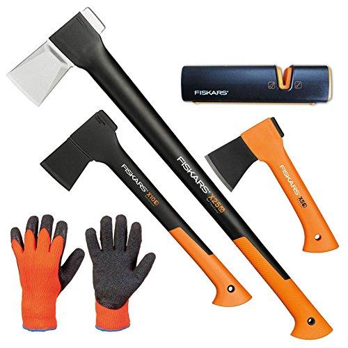 FISKARS© Set Spaltaxt X25 - XL + Universalaxt X10 - S + Freizeitbeil X5 - XXS + Xsharp Axt- und Messerschärfer + Handschuhe