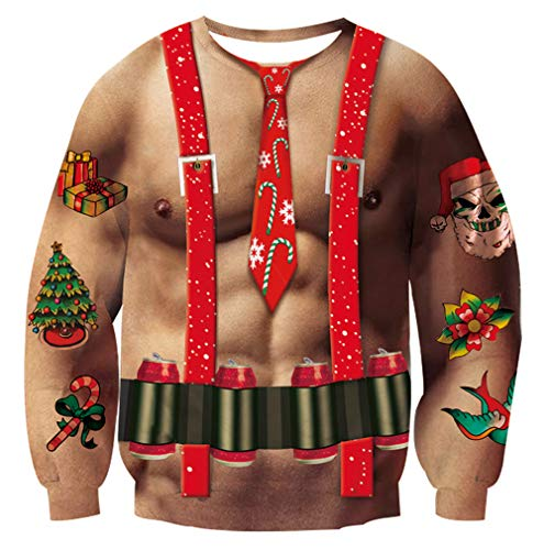 Goodstworld Funny Ugly Christmas Sweater Cool Novelty 3D Abs Muscle Chest Tacky Pullover Sweater Shirts Blouse Brown Tan Graphic Xmas Sweatshirts Loose Fit Jumpers Shirts for Xmas Party Medium