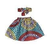幼児 赤ちゃん 女の子 夏 アフリカン 洋服 ボヘミアン ダシキ プリント チュチュスカート + ヘッドバンド 2個セット 小さな女の子用 パーティースカート US サイズ: 4-5Y カラー: ブルー