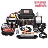 Winchmax 13.500 libras (6.123 kg) Cabrestante eléctrico de 12v de grado militar. Cuerda de Dyneema, Control Remoto Inalámbrico Doble.