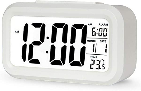 Forestime Multifunctional LCD Electronic Clock With Sensor Light Digital Alarm Clock Battery Operated With Time Temperature Date Display For Home Office Bedroom And Kids