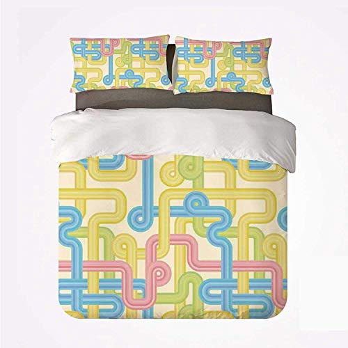 Miwaimao Bedding Bettwäsche-Set,90er Jahre altes Design Hippie Labyrinth Style...