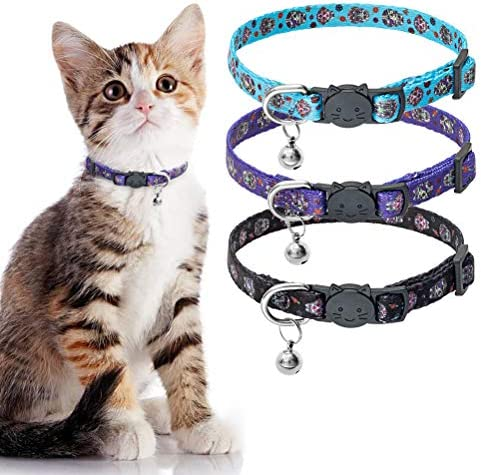 PUPTECK Skull Cat Breakaway Collar with Bell 3 Pack Adjustable Soft Kitten Puppy Collar for product image