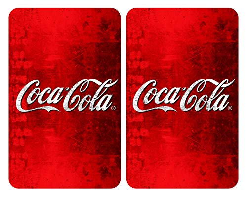 Wenko Glasabdeckplatten Universal Coca-Cola Classic 2er Set, Kochplattenabdeckung und Schneidebrett für Alle Herdarten, Gehärtetes Glas, Mehrfarbig, 52 x 30 x 4,5 cm
