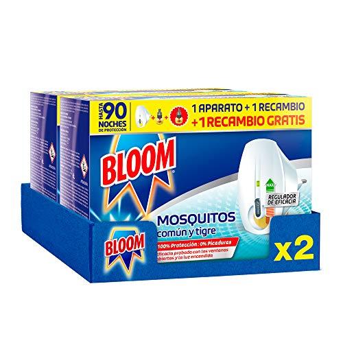 Bloom Insecticida Doble Eficacia Electrico Líquido para mosquitos común y tigre - Pack de 2 Aparatos + 4 recambios