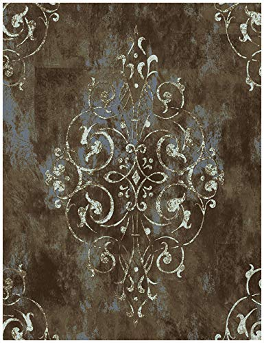 HaokHome 94005 Vintage Damask Thick Peel and Stick Wallpaper 17.7'x 19.7ft Brown/Beige Vinyl Self Adhesive Wall Paper Design for Walls Bathroom Bedroom Home Decor