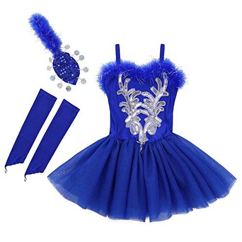 iiniim Tutú Vestido Lentejuelas Ropa para Ballet Niña Disfraz de Bailarina Maillot de Ballet Danza Patinaje Artistico Leotardo Princesa Vestido Guantes con Falda Clip 3pcs Azul Osucro 5-6 años