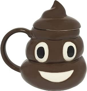Emo Gee Poop Mug w/Lid Ceramic Coffee or Tea Cup Shaped Like A Pile Of Crap
