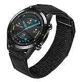 TRUMiRR Sostituzione per Huawei Watch GT 2 46mm/GT Active/GT Elegant Cinturino, 22mm Cinturino in Nylon Intrecciato e Vera Pelle Cinturino a sgancio rapido per Huawei Watch GT 2e/GT Sport/GT Classic