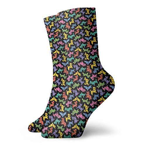 Calcetines suaves a mediados de la pantorrilla, estilo abstracto origami, figuras de perro gráficas en colores vivos, diseño de animales geométricos, calcetines decorativos para hombres y mujeres