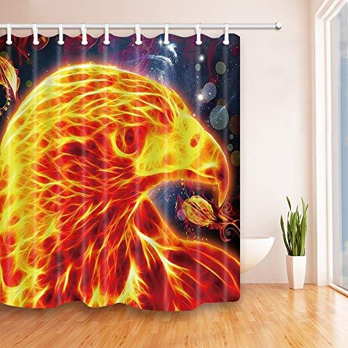 LRSJD Abstrakte Malerei Feuer Huhn Duschvorhang 71X71 Zoll Polyester Stoff Badezimmer Fantastische Dekorationen Bad Vorhänge Haken enthalten