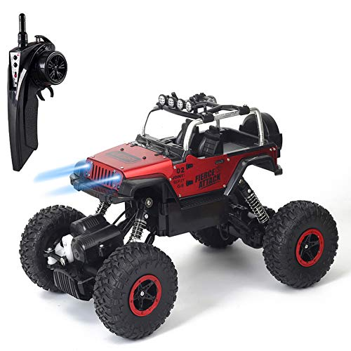 RC Car Toys, Off Road Vehicles Remote Control Rock Crawler Cars 4WD RC Trucks 2.4GHz with LED Light for Kids Red