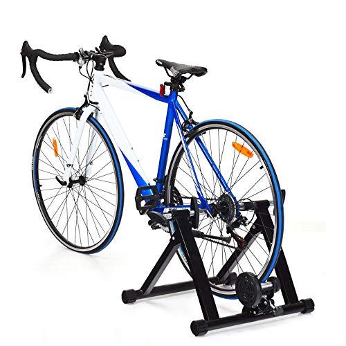 DREAMADE Klappbarer Rollentrainer, Fahrradtrainer mit Schnellspanner und Vorderradstütze, Indoor Fahrrad Übungsständer aus Stahl, Radtrainer für 26-28 Zoll Reifen, 150 kg belastbar (Ohne Draht)