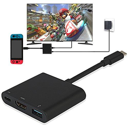 Y Team Adaptateur HDMI pour Switch USB Type C vers 4K 1080 HDMI Convertisseur Cȃble pour Switch/Macbook Pro/Galaxy S8