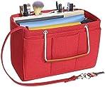 Soyizom Felt Bag Organiser Insert Handbag for Women,Travel Makeup Handbag Organiser Insert Bag Liner for Tote with Handles Keychain(Large,red)