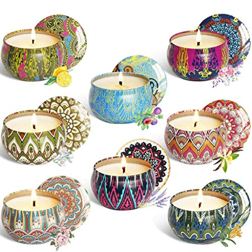 lijun 8pcs Fragrance Aromatherapy Scented Candle Natural Soy Wax Travel Tin Home Decor