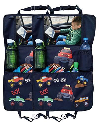 2x Organizador-protector de asientos HECKBO para niños con bolsa ajustable para tabletas con lámina táctil para hasta 20' - Monster Trucks - universal incluye bolsa térmica + bolsa de malla extensible