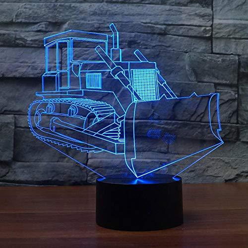 ENLAZY 3D Creative Construction Véhicule Bulldozer Design Night Lights 16 Couleur Table à Langer Bureau Light pour Home Leisure Entertainment Cadeau Enfants Jouets De Noël Saint Valentin Cadeau