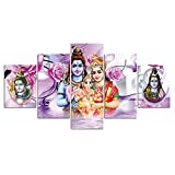 HSBZLH Pinturas Decorativas Láminas HD Cuadro Lienzo con Figura Dios Hindú Arte Indio Shiva, 5 Piezas, Póster Religioso E Impresión, Imagen Pared para Decoración Sala Estar