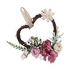 SM SunniMix Heart Rattan Artificial Rose Flower Wreath Spring Summer Garland Wedding Festival Home Decor – Dusty Pink, 18 x 14 x 6 cm