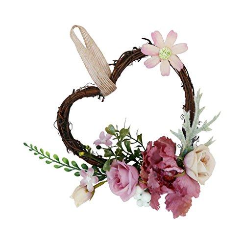 SM SunniMix Heart Rattan Artificial Rose Flower Wreath Spring Summer Garland Wedding Festival Home Decor - Dusty Pink, 18 x 14 x 6 cm