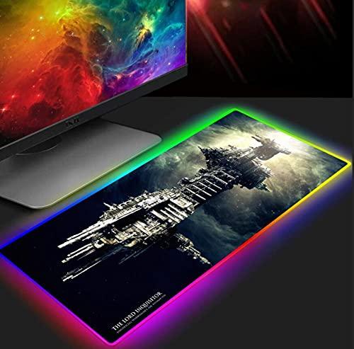 Tapis de Souris Gaming Warhammer 40K Tapis de Souris de Jeu RGB Éclairage LED Grand Tapis de Souris XXL Pc Tapis de Clavier de Bureau D