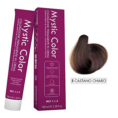 Mystic Color - Colorazione Permanente in Crema con Olio di Argan e Calendula - Tinta per Capelli Long Lasting - Colore Castano Chiaro 5-100ml
