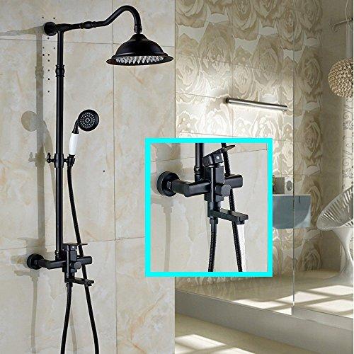 ZLININ Y-longhair - Grifo de ducha montado en la pared para baño con ducha de mano, grifo mezclador de bañera con aceite, bronce aceitado, blanco
