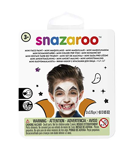 Snazaroo 1172086 Kinderschminke Mini Set Vampir, 3 Schminkfarben, Farben: Rot, Weiß, Schwarz, 1 Pinsel, 1 Schwämmchen