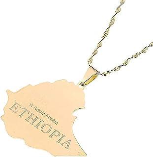 Collana La mappa della Repubblica federale democratica dell'Etiopia Collana con ciondolo Etiopia Addis Abeba Collana con m...