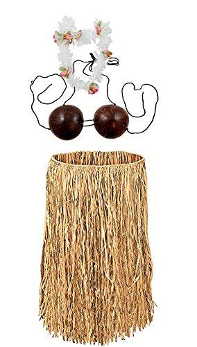 Costume Set Hawaiian Grass Skirt with Coconut Bra and Flower Lei Beige, Brown