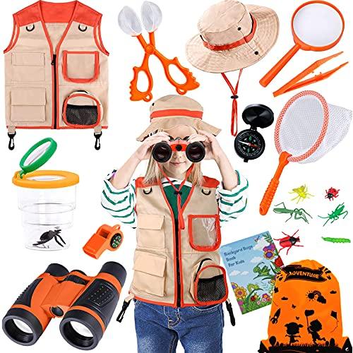 TEPSMIGO Kids Explorer Kit & Bug Catcher Kit, 18 Pcs Outdoor Adventure Set with Binoculars, Safari & Vest Hat, Butterfly Net, Compass, Magnifying Glass, Whistle, Guide, Camping Bag Toy for Boys Girls