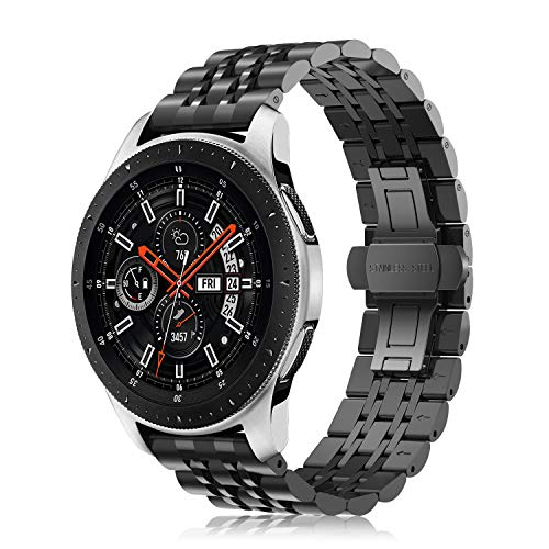 Fintie Armband kompatibel mit Galaxy Watch 46mm / Gear S3 Frontier/Gear S3 Classic/Huawei Watch 2 Classic Smart Watch - 22mm Uhrenarmband Edelstahl Metall Ersatzband, Schwarz