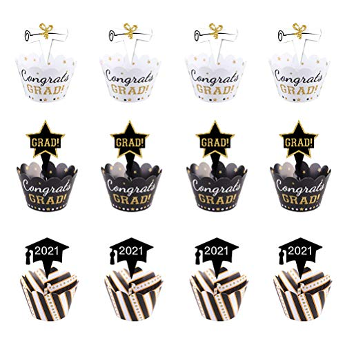 VALICLUD Chic 24pcs 2021 Graduation Party Cupcake Papierverpackungen Cake Toppers Ornamente