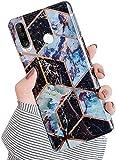 Herbests Compatibile con Huawei P30 Lite Cover in Silicone Marmo Custodia Ultra Sottile e Soft TPU Bumper Case Flessibile Gomma Cover Antiurto Marmo Silicone Case,Nero