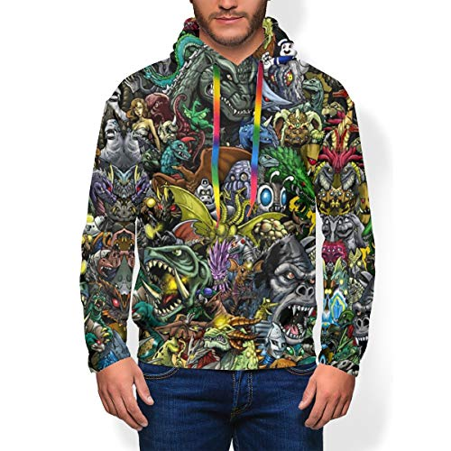 Youth Men Best 3D Graphic Pullover Hoodie, All Kaiju Monsters Godzilla Anime Collage Fan Art Poster 80s 90s Comfy Plus Fleece Cosplay Hooded Sweater Apparel with Big Front Pocket