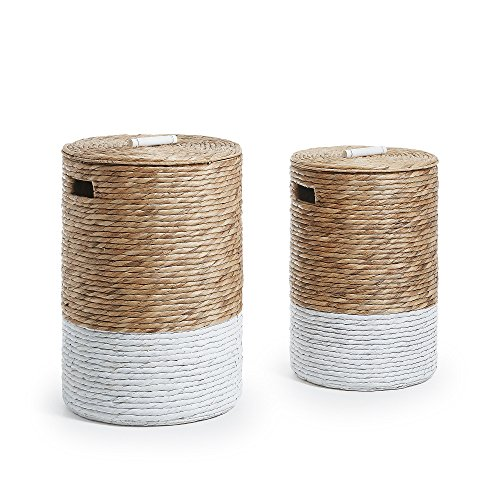 Kave Home - Set de 2 cestos de almacenaje Mast Natural y Blanco de Jacinto de Agua