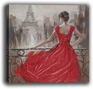 WOWDECOR Wall Art Modern Canvas Prints Painting - Eiffel Tower Flowers Love Buddha Girls Giclee Pictures Printed on Canvas, Wall Decor for Home Living Room Bedroom - DIY Frame (Red Dress Girl, Large)