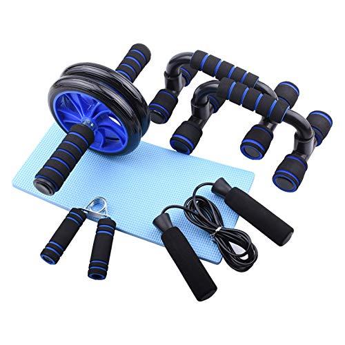 Irfora Juego de entrenamiento abdominal 5 en 1, rodillo abdominal, juego de entrenamiento abdominal, rodillo abdominal + rodilleras antideslizantes + cuerda de saltar + agarrador + 2 soportes