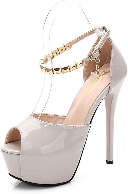 Sam Carle Womens Pumps,Summer Rivet Thin Heel Buckle Pointed Toe Platform Ankle Strap Pump
