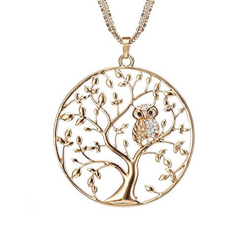 Lange Halskette für Frauen, Baum des Lebens mit Eule Anhänger Halskette für Mädchen Rose Gold und Silber Halskette mit CZ Crystal Kette Halskette (Vergoldet)