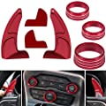 Air Conditioning Button Cover & Steering Wheel Shift Paddle Shifter Extension for 2015-2020 Dodge Charger Challenger Durango RT & Scat Pack (Red)
