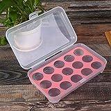 Baijie Caja apilable Transparente 15 Rejilla Bandeja de Huevos de Almacenamiento frigorífico for la Cocina al Aire Libre Caja de plástico Huevo anticolisión (Color : Rosado)