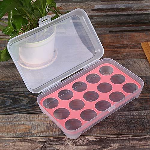 XUENING Caja apilable Transparente 15 Rejilla Bandeja de Huevos de Almacenamiento frigorífico for la Cocina al Aire Libre Caja de plástico Huevo anticolisión (Color : Rosado)