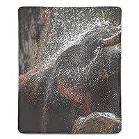 マウスパッド ノートパソコン オフィス用 ゲーム用 水浴びの象 (180*220*3mm)防塵 耐久性 滑り止め 耐用