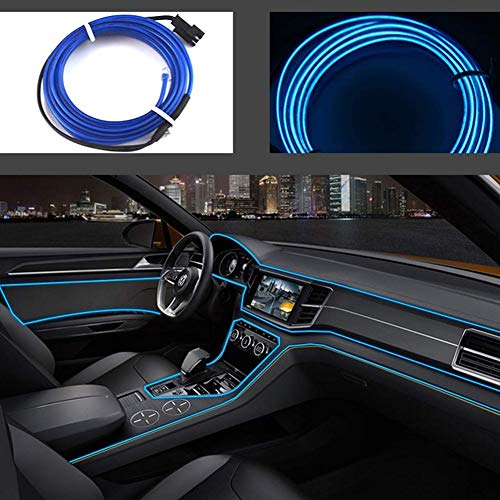San Jison El Wires Car kit 5m/16ft Cold Interior Trim Bright Car Decorative Atmosphere Neon Light Tube Circle Up to 360 Degrees with Cigarette(Blue)