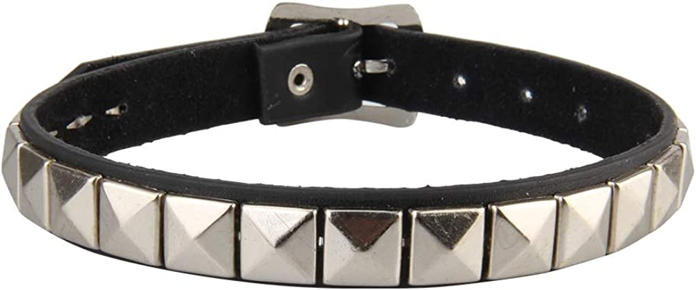 GelConnie Gothic Spike Studded Collar Necklace Punk Rock Genuine Leather Choker Collar Necklace for Women, Teens Girls, Sister