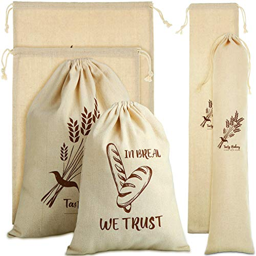 6 Pieces Linen Bread Bags Drawstring Bread Storage Bags Reusable Linen Bag Print Grocery Bags for Food Storage Loaf Homemade Bread Keep, 11 x 15 Inch, 6 x 26.5 Inch and 15.5 x 19.5 Inch